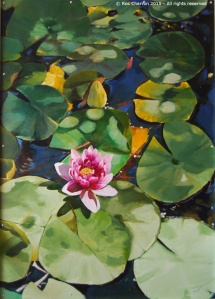 Ros Charron Waterlilies Mural 2015 - Panel 1 of 3