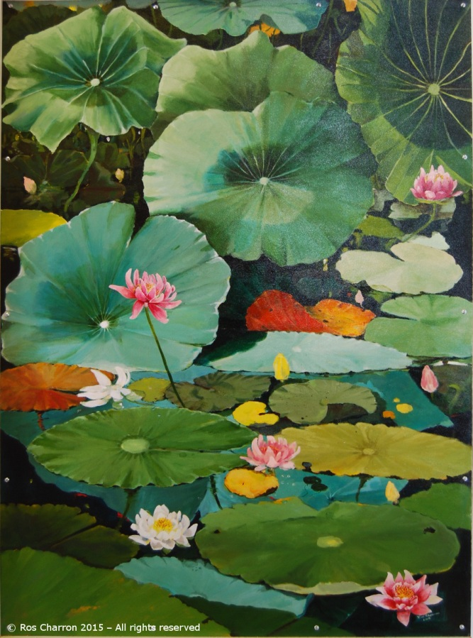 Ros Charron Waterlilies Mural 2015 - Panel 3 of 3